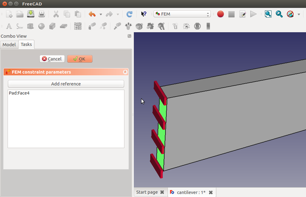 Testing FEM Workbench of FreeCAD – jolahde